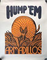 VTG Unique Pop Art Poster Hump 'Em Armadillos Rare Funny Psychedelic #37 JN21
