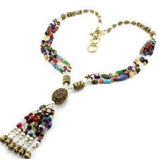 Necklace natural amethyst moonstone garnet gemstone beaded antique handmade 64 g