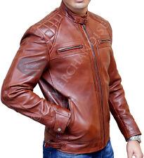 Men's Brown Biker Quilted Vintage Distressed Motorcycle Racer Leather Jacket
