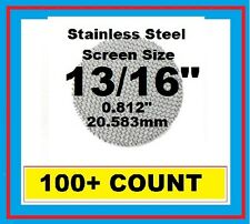 """100+ Stainless Steel PIPE SCREENS .812"""" (13/16"""") 20.6mm PipescreenZ™ MADE IN USA"""