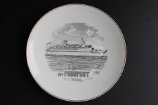 """M/V Freeport Ship White & Black Plate Gold Rim Rosenthal Germany 9.75"""" Diameter"""