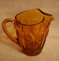 VINTAGE COIN GLASS AMBER 32 OZ PITCHER FOSTORIA PATTERN #1372 1958-1982