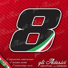 Adesivo Stickers NUMERO 8 moto auto cross gara Nero & Tricolore
