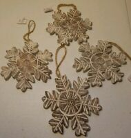 Wooden Snowflake Christmas Tree Ornament, White Wash, 5-Inch, Lot of 4