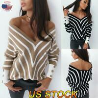 Women Sexy V-neck Striped Long-sleeved Shirt Casual Loose Blouse Tops Sweater US