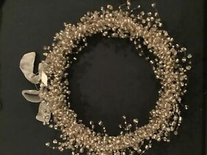 """Pottery Barn Pepperberry Holiday Wreath Beaded Silver White Clear 10"""""""