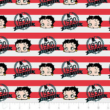 Red White & Betty Boop Stripes Ruby Red Camelot 100% Cotton Fabric by the yard