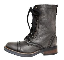 Steve Madden Munch Military Leather Boot Grey Women Sz 5.5 M 4001 *