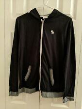 Abercrombie Boys Hooded Jacket Zip Up Front Black Size XL 16