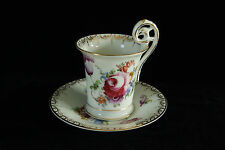 SUPER 100% HAND PAINTED FLORAL PORCELAIN CHINA SIGNED DRESDEN CUP & SAUCER