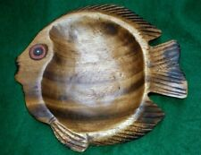 ETHNIC HAND CARVED WOODEN  FISH SHAPED BOWL or TRINKET DISH