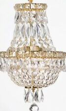 "FRENCH EMPIRE CRYSTAL CHANDELIER H15""X W11""-GOLD,3LIGHTS,NEW,FREE SHIPPING"