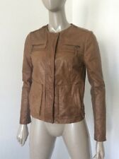Vince Womens Distressed Brown Leather Zipper Snap Jacket Size Small Knit Sleeves