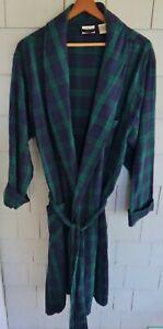 Men's L.L. BEAN Blue & Green Plaid FLANNEL BATHROBE - MEDIUM