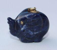 Vtg Carved Blue Sodalite Gemstone Sterling Silver Elephant Good Luck Pendant