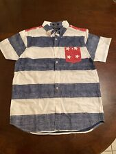 NWT Men's Eighty Eight Platinum Short Sleeve Button Red White Blue Shirt Size L