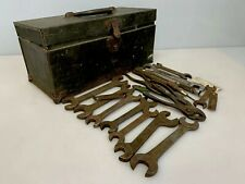 "Vintage Steel Tool Box 16"" x 7"" x 7"" with Wrench Lot Old Antique"