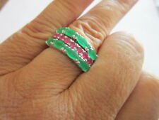 Sterlng Silver Ring Rhodium Plated Synthetic Emerald & Ruby stackable 3 band 7