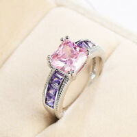 Rainbow Multi Color Pink Topaz Purple Amethyst Gemstone Silver Ring US Size 6-10