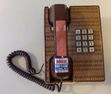 Vintage Western Electric Phone Rattan Brown Push Button TESTED wicker