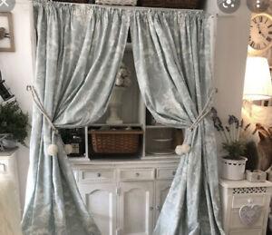 LAURA ASHLEY French Josette Duck Egg White Damask Curtains New £185