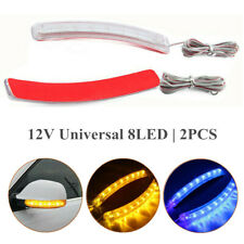 2x Yellow 8LED Car SUV Side Mirror Amber Indicator Soft Turn Signal Light Strips