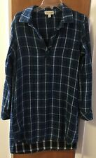 Anthropologie Blue Plaid Cloth And Stone Flannel Tunic Dress Women's Small