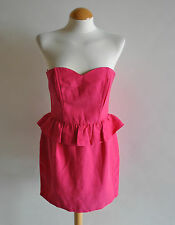 Ladies Topshop Pink Peplum Bandeau Strapless Bodycon Party Dress Zip Back 14