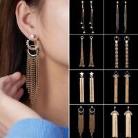 Fashion Geometry Crystal Long Tassel Chain Stud Drop Dangle Earrings Jewelry New