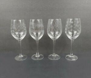 "Set of 4 MIKASA Geometric Etched Crystal CHEERS 9"" White Wine Glasses EUC"