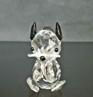 Vintage Crystal Clear Cut Glass Eating Squirrel Figurine Ornament