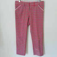 Peter Millar Womans Golf Pants Trousers Wicking E4 ALLOVER Print Pink Size 8