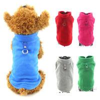 Warm Puppy Dog Cotton Vest Pet Jumper Clothes Pure Color Cat Sport Sweater Coat