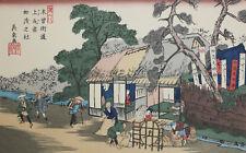 Keisai Eisen (Japanese 1790-1848) Woodblock Shinto Temple of Kanto Ageo Station
