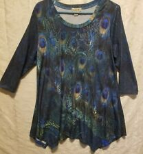 One World tunic top size L multi color butterfly print a line style soft fabric