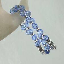 Vintage Silver Plated Authentic Swarovski Baby Blue Crystal Bead Bracelet Pair