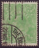 1/2d GREEN KGV SINGLE WMK SINGLE LINE PERF BW64 CV $900 - AVERAGE USED (A12399)