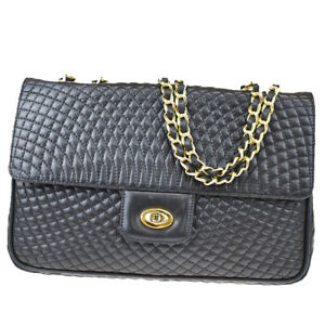 Auth BALLY Double Flap Quilted Chain Shoulder Bag Leather Black Italy 66BS388