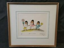 TED ETTORE DEGRAZIA 6 COLOR ETCHING DANCING WITH FLOWERS SIGNED NUMBERED 1981 W/