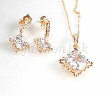 Damen 18K vergoldet künstlicher Diamant baumelnde Ohrringe Halskette Set