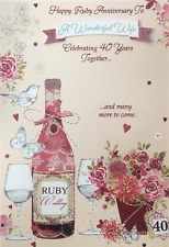 Ruby 40th Wedding Anniversary Card Mum & Dad Wife Husband Special Couple