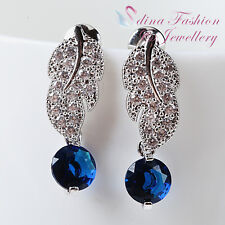 18k White Gold GP Made With Swarovski CZ Round Exquisite Leaf Sapphire Earrings
