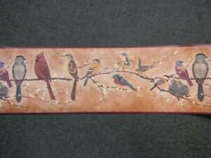MANY TYPES OF BIRDS ON BRANCHES BURGUNDY TRIM WALLPAPER BORDER