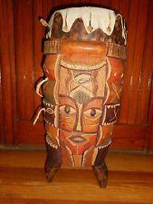 Original Hand Carved Aboriginal Tribal Percussion Drum Trio of Figural Symbols