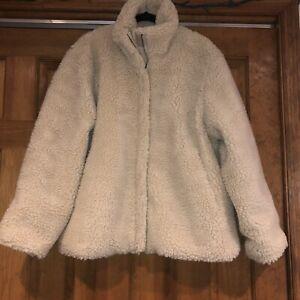 NEW Aeropostale Womens XXL Cream Fuzzy Teddy Bear Faux Fur Jacket Coat NWT$89.50