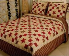 Nostalgia Red Star Queen Quilt Set Nine Patch Plaid Farm House Cabin Bedding