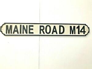 Maine Road Manchester City Football Street Sign Wall Art 100cm X 14cm Distressed