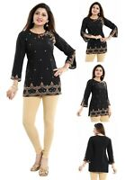 Women Indian Short Black Embroidery Kurti Tunic Kurta Shirt Dress BD411