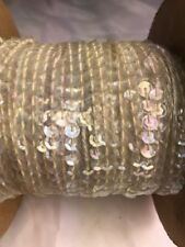 5 Yards Clear Iridescent sequin string faceted Vintage Trim