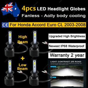 For Honda Accord Euro CL 2003-2008 4x Headlight Globes High Low Beam LED Bulb A2